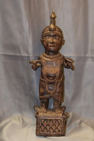 Sculpture of the king of the city-state of Ife. It was done by the lost-wax method of casting bronze which the Ife people developed in the 13th century. Currently it is in the brown stage of oxidation